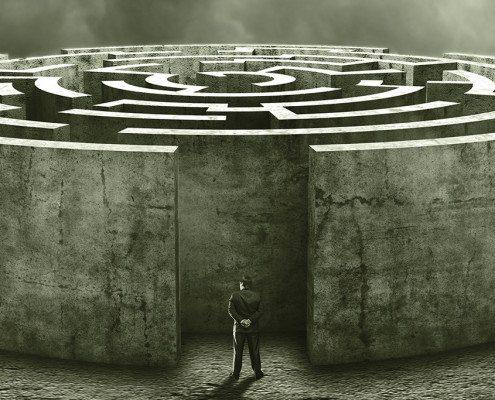 3D circular labyrinth against cloudy sky