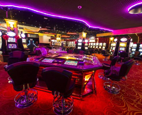 A Slot machines room in an empty  Casino.