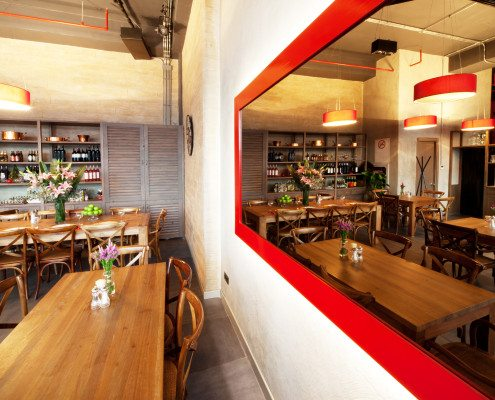 Modern Restaurant Design with wooden and red details