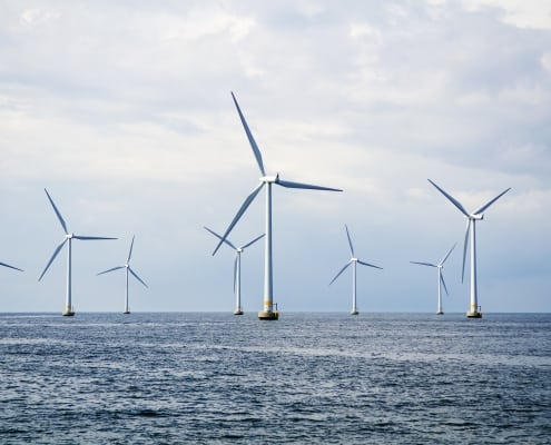 Wind turbines at sea